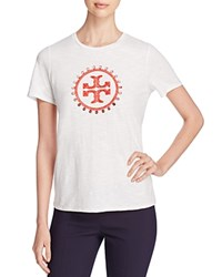 Tory Burch Demi Embroidered Logo Tee New Ivory