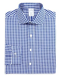 Brooks Brothers Gingham Non Iron Classic Fit Dress Shirt Blue