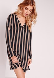Missguided V Neck Striped Long Sleeve Shift Dress Navy Blue