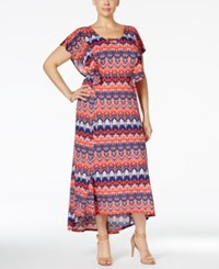 Ny Collection Plus Size Flutter Sleeve Printed Maxi Dress Coral Blushpeak