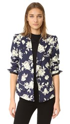 Smythe Sharp Shoulder Blazer Navy Floral