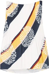 Raoul Picadilly Pleated Printed Crepe Top White