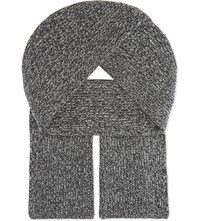 Johnstons Ribbed Cashmere Scarf Charcoal