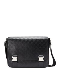 Gucci Signature Leather Messenger Bag Black