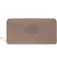 Mulberry Blossom Zip Around Calf Leather Wallet Taupe