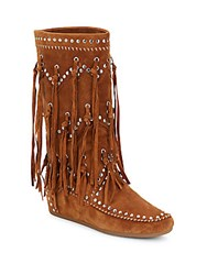 Ash Shilo Fringed Suede Moccasin Boots Sienna