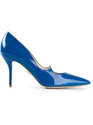 Paul Andrew Scalloped Stiletto Pointed Pumps Blue