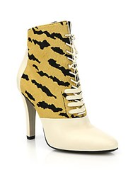 3.1 Phillip Lim Harleth Striped Calf Hair And Leather Lace Up Booties Tiger
