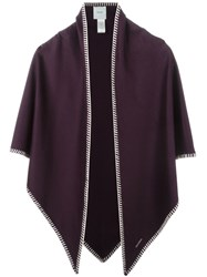 Agnona Trim Detail Poncho Pink And Purple