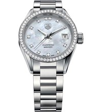 Tag Heuer War2415.Ba0770 Carrera Stainless Steel Mother Of Pearl And Diamond Watch