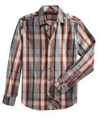Sean John Men's Big And Tall Plaid Shirt Medium Grey