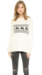 For Love And Lemons Knitz Alpine Pullover Sweater Ivory