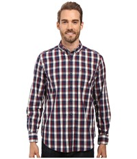 Nautica Long Sleeve Large Plaid Shirt Marine Blue Men's Long Sleeve Button Up