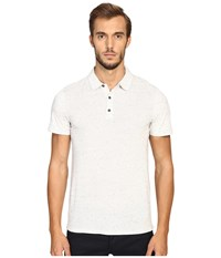 Vince Cotton Modal Mix Stitch Short Sleeve Polo Heather White Heather White Men's Short Sleeve Pullover