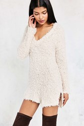 Kimchi And Blue Teddy V Neck Pullover Sweater Ivory