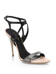 Narciso Rodriguez Carolyn Snake Embossed Leather Sandals Natural Black