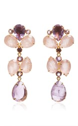 Bounkit Brass 14K Gold Plated Amethyst And Rose Quartz Earrings Gold Purple Pink