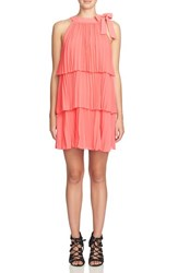 Cece Petite Women's Tiered Chiffon Swing Dress Ginger Pink