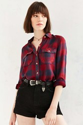 Bdg Robbie Washed Button Down Shirt Maroon