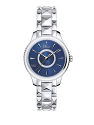 Christian Dior Dior Viii Montaigne Diamond Mother Of Pearl And Two Tone Stainless Steel Bracelet Watch Silver Blue