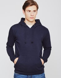 The Idle Man Fleece Hoodie With Pouch Pocket Navy
