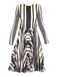 Dolce And Gabbana Riga Striped Silk Chiffon Dress
