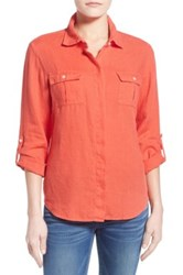 Tommy Bahama Two Palms Linen Camp Shirt Red