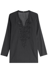 Steffen Schraut Embroidered Cotton Tunic Black