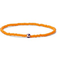 Luis Morais Gold Bead And Enamel Bracelet Orange