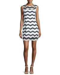 Milly Sleeveless Chevron Shift Dress Navy White