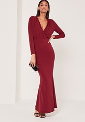 Missguided Pleat Plunge Long Sleeve Fishtail Maxi Dress Red Burgundy