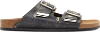 Givenchy Green And Black Leather Paisley Buckle Sandals