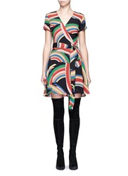 Alice Olivia 'Adrianna' Rainbow Print Tie Waist Wrap Dress Multi Colour
