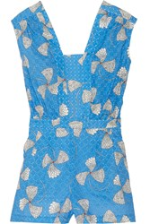 Paul And Joe Danaos Printed Broderie Anglaise Cotton Playsuit Blue