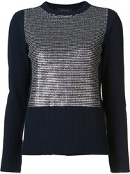 Cedric Charlier Striped Panel Jumper Blue