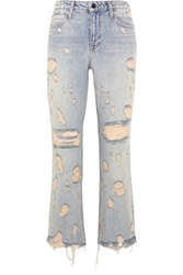 Alexander Wang Grind Cropped Distressed High Rise Bootcut Jeans Light Denim