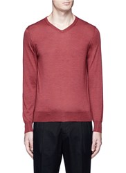 Tomorrowland Cashmere Silk V Neck Sweater Red