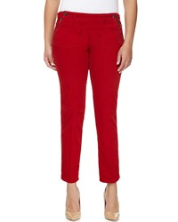 Stella Mccartney Double Button Skinny Ankle Pants Red