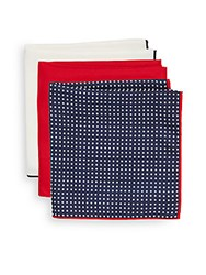 Saks Fifth Avenue Silk Pocket Squares Pack Of 3 Red Navy