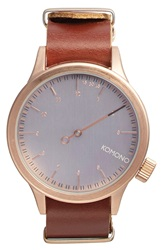 Komono 'Magnus The One' Round Leather Strap Watch 46Mm Mahogany