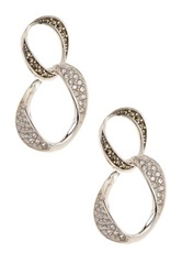 Judith Jack Sterling Silver Glitter Links Double Drop Earrings Metallic