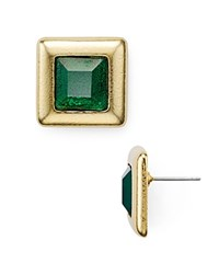 Stephanie Kantis Crush Square Stud Earrings Gold Green Agate