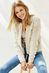 Staring At Stars Loopy Stitch Bomber Cardigan Ivory