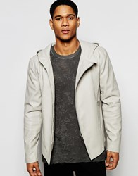 Asos Hooded Faux Leather Jacket In Stone Stone