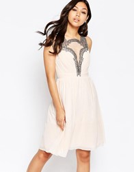 Little Mistress Skater Dress With Baroque Lace Plunge Detail Nude Cream