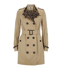 Burberry London Sandringham Leopard Detail Trench Coat Female