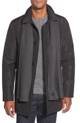 Cole Haan Water Resistant Rain Jacket With Knit Scarf Black