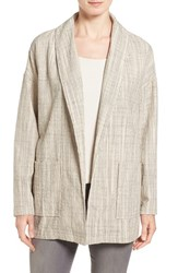 Eileen Fisher Women's Stripe Slub Cotton Oversize Shawl Collar Jacket