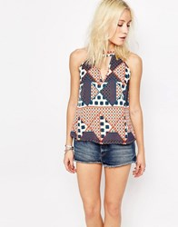 Influence Cut Out Print Top Multi