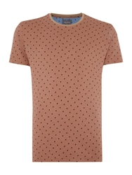 Peter Werth Donald Arrow Pattern Crew Neck Slim Fit T Shirt Camel